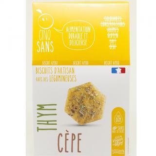 5 SANS - Biscuit apéro Cèpes et thym - Apéritif et biscuits salés - 0,1