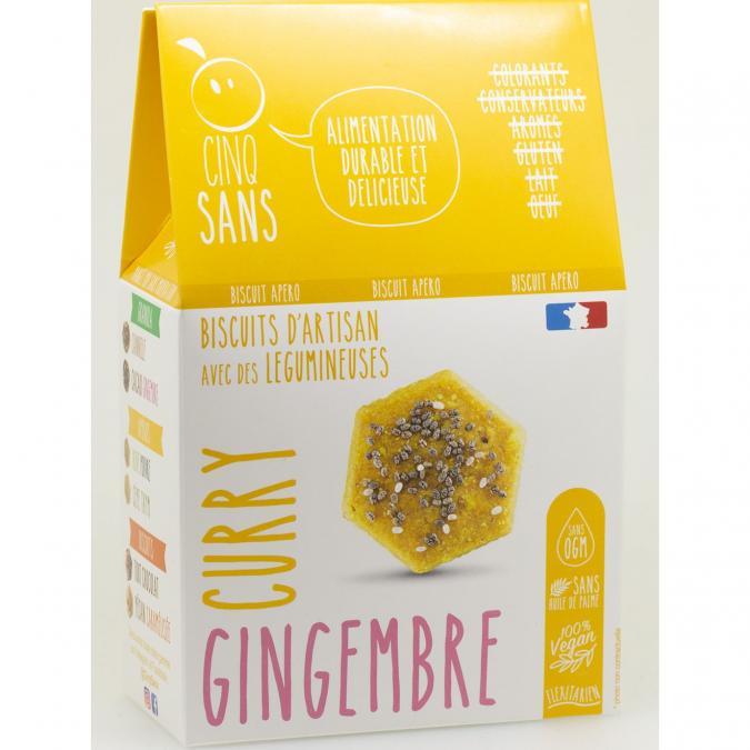 5 SANS - Biscuit apéro curry gingembre BIO - Apéritif et biscuits salés - 4668