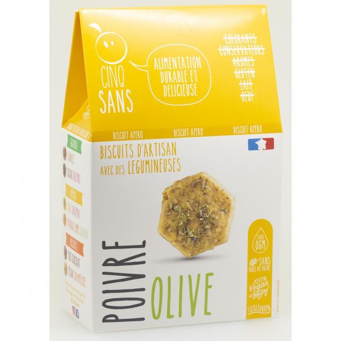 5 SANS - Biscuit apéro olive poivre BIO - Apéritif et biscuits salés - 4668