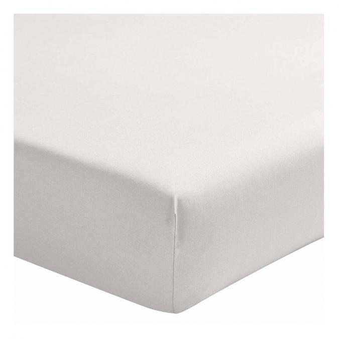 A demain - le linge français - Drap housse percale lavee - albatre - 140*200 - drap housse