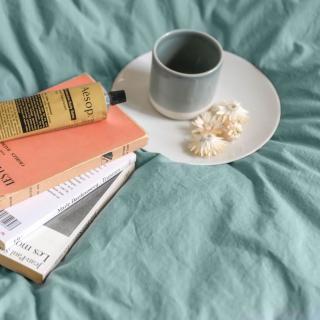 A demain - le linge français - Housse de couette unie percale lavee - cevennes - Housse de couette