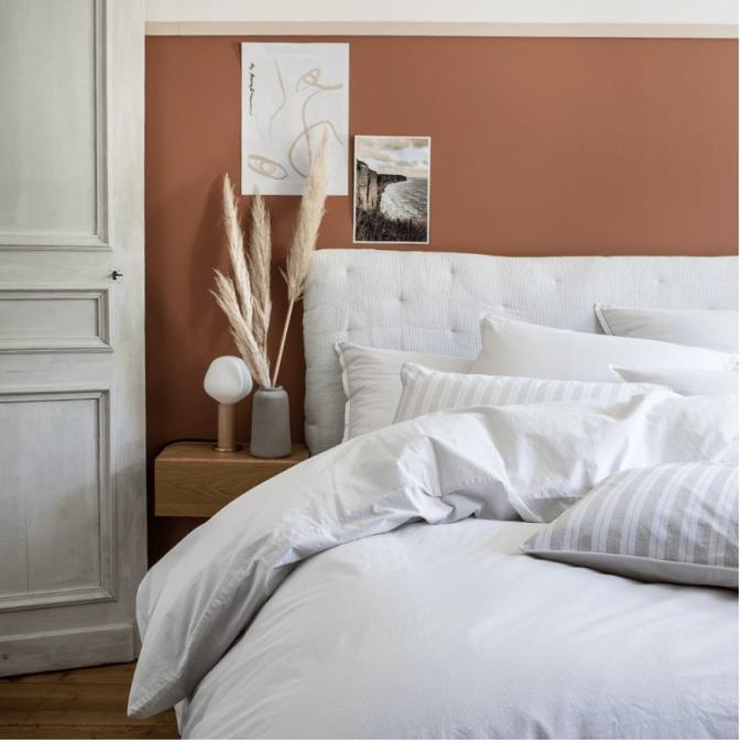 A demain - le linge français - Parure de lit fabriquée en france albatre - Taie d'oreille 50*75 - Housse de couette 260*240 - Parure de lit