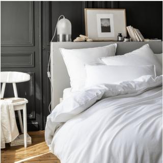 A demain - le linge français - Parure de lit fabriquée en france Mont-Blanc - Taie d'oreille 50*75 - Housse de couette 240*220 - Parure de lit