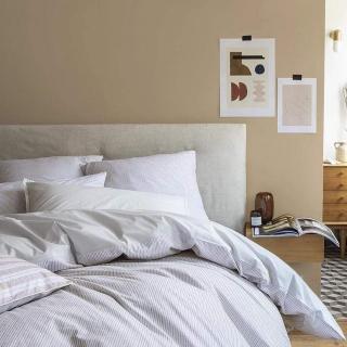 A demain - le linge français - Parure de lit fabriquée en france petites rayures - Taie d'oreille 50*75 - Housse de couette 260*240 - Parure de lit