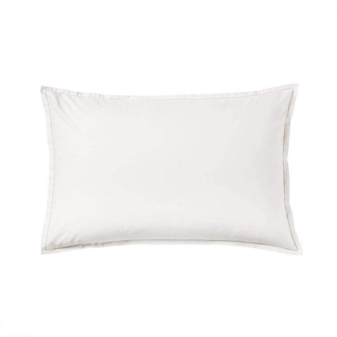 A demain - le linge français - Taie d'oreiller unie percale lavee albatre - lot de 2 - Taie d'oreiller