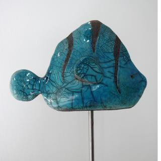 AbeRaku ceramique - Poisson Raku Bleu - ceramique d'art raku