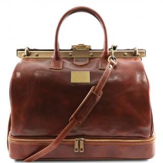 Ambi Hose Bags - Barcellona - Sac de voyage en cuir avec double fond marron claire - Sac de voyage