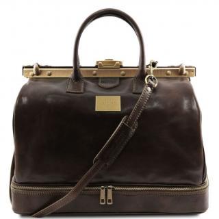 Ambi Hose Bags - Barcellona - Sac de voyage en cuir avec double fond marron foncé - Sac de voyage