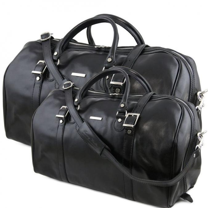 Ambi Hose Bags - BERLIN Ensemble de voyage en cuir noir - Sac de voyage