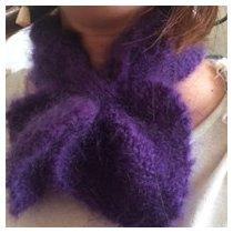 Atelier Mohair - Écharpe cœur tricotée en pur mohair de chevreaux - Echarpe - Violet