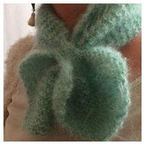 Atelier Mohair - écharpe coeur tricotée en pur mohair de chevreaux - Echarpe - Vert