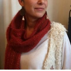 Atelier Mohair - Echarpe tissée en mohair de chevreaux et soie - Echarpe - Rouge