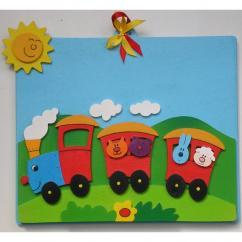 Atelier Terre Rouge - Train - 21 cm x 19 cm - Tableau avec prénom à personnaliser