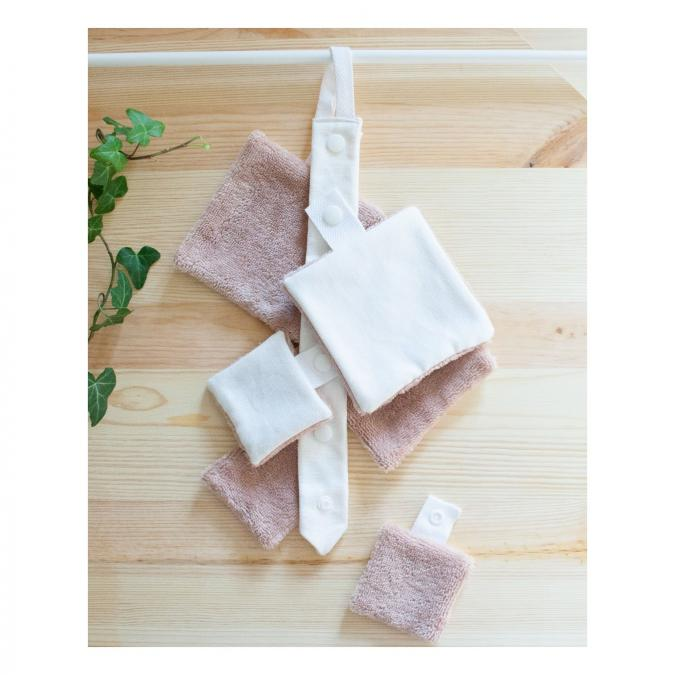 Atelier Beige - Kit 6 lingettes Bambou Flore N°2 avec sa Cravate + Pochette - Lingette lavable