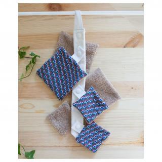Atelier Beige - Kit 6 lingettes Coton Hestia N°1 {Série Limitée} avec sa Cravate + Pochette - Lingette lavable