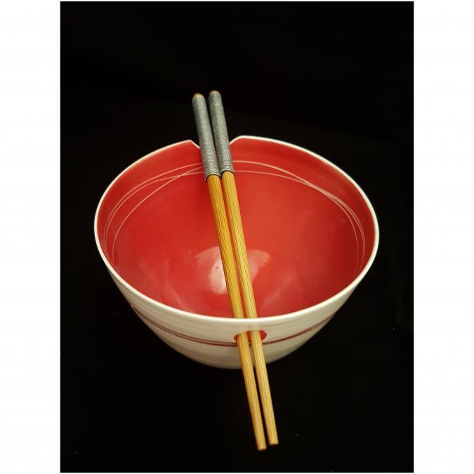 Atelier Céramique Laurence Thomas - Bol à baguettes - porcelaine - Bol - Rouge