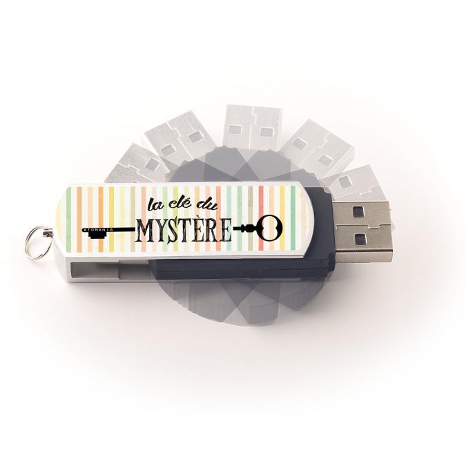 Atomania - Clé USB 8 Go, ATOMANIA, La Clé du Mystère, en métal et plastique, couleur argent et noir, 55x 17 mm, Pivotante - clé usb