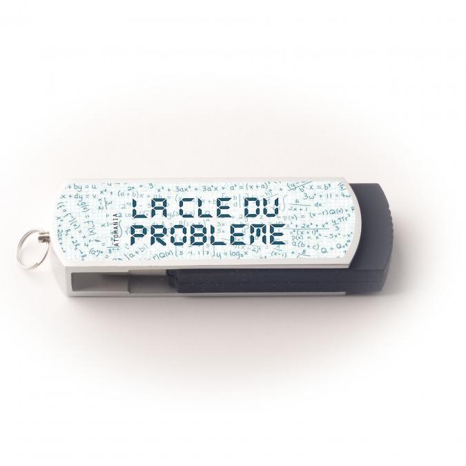 Atomania - Clé USB 8 Go, ATOMANIA, La Clé du problème, en métal et plastique, couleur argent et noir, 55x 17 mm, Pivotante - clé usb