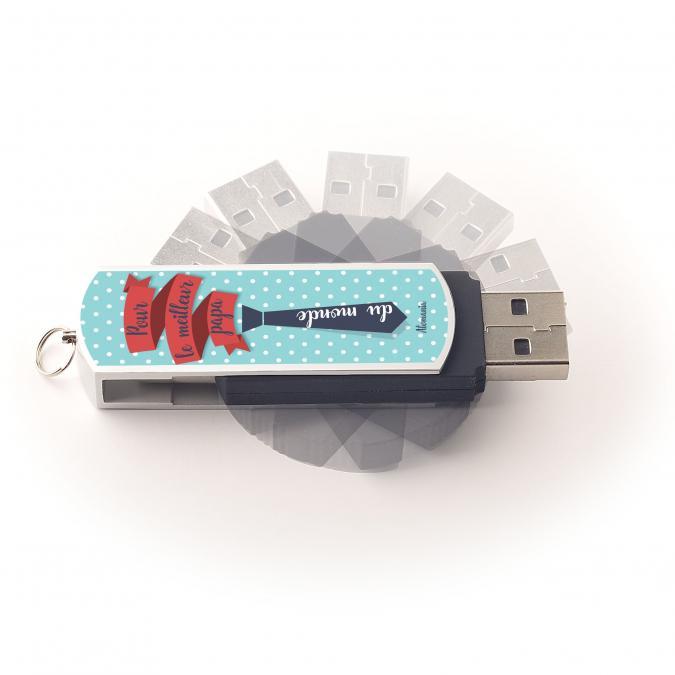 Atomania - Clé USB 8 Go, ATOMANIA, Meilleur Papa du monde, en métal et plastique, couleur argent et noir, 55x 17 mm, Pivotante - clé usb