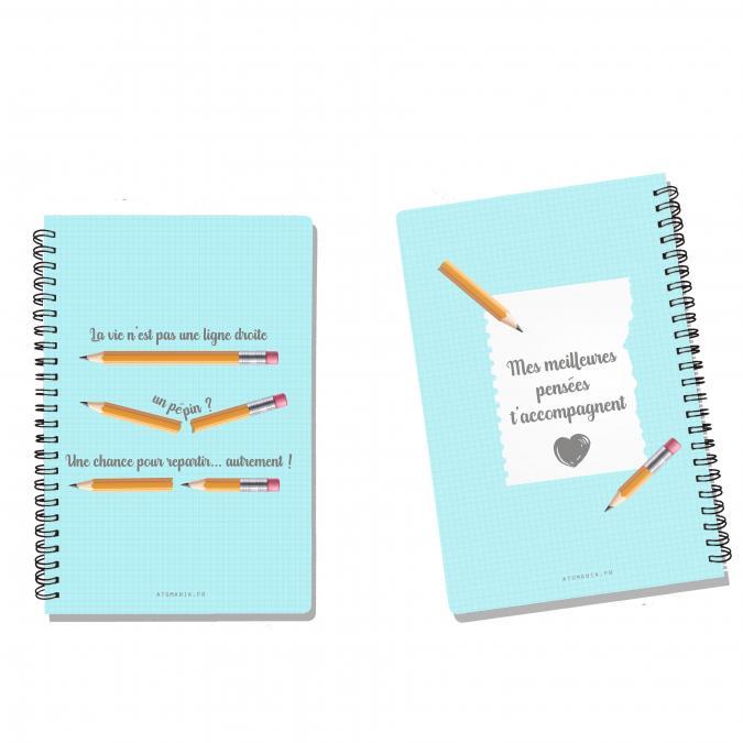 Atomania - La vie n'est pas une ligne droite – cahier Atomania – impression recto verso – couvertures rigides –– A5 – cahier à spirale – 14 x 21cm - ___Papeterie - Carterie