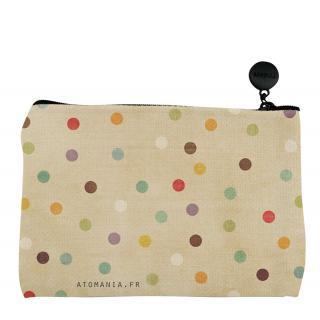 Atomania - Pochette humoristique à pois ! / Pochette Atomania  / Pochette en lin lavable. Format 10 x 15 cm. Beige. Fermeture éclair. - Pochettes, sacs
