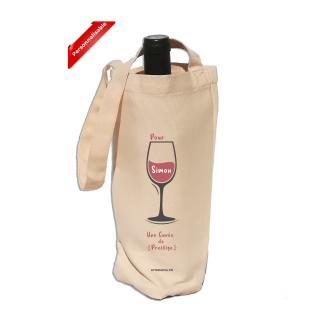 Atomania - Sac porte bouteille personnalisable : J'avais envie de t'offrir un p'tit canon ! Sac en tissu polyester/ Atomania. Sac réutilisable, rangement, pochon, tissu, vrac - sac a vrac