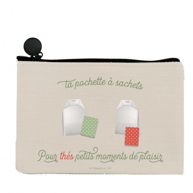 Atomania - Ta Pochette à sachets… de thé ! / Pochette Atomania  / Pochette en lin lavable. Format 10 x 15 cm. Beige. Fermeture éclair. - Pochettes, sacs