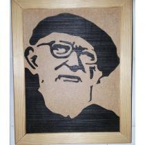 Au Joli Bois - Abbé Pierre portrait chantourné sur bois - portrait chantourné
