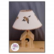 Au sable fin - Lampe composée d'un pied artisanal en forme de nichoir et d'un abat-jour - Lampe de table - ampoule(s)