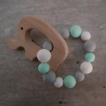 BabyDreamer - Hochets Montessori Menthe Blanc gris - Hochet