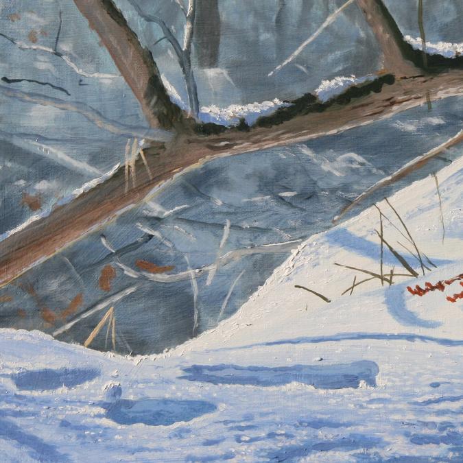 Bernard Guédon, Art et Nature - Peinture rouge-gorge à l'huile sur toile - Peinture - 22 cm x 35 cm