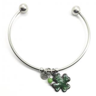 BIJOUPHONIE - Bracelet demi-jonc hypoallergénique: CHRYSOPRASE -acier chirurgical, émaux sur cuivre, pierre semi-précieuse, trèfle à 4 feuilles - Bracelet - Acier