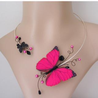 Bijoux by maeva - Bijoux fantaisie créateur collier rose fuschia et noir papillon - Collier - Métal