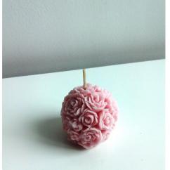 Améliane - Bougie boule décorée de roses - Bougie - Sans parfum