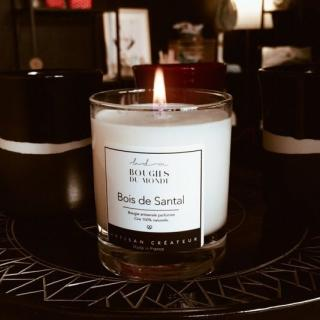 BOUGIES DU MONDE - Bougie parfumée Bois de Santal - Bougie - Parfum Bois de Santal
