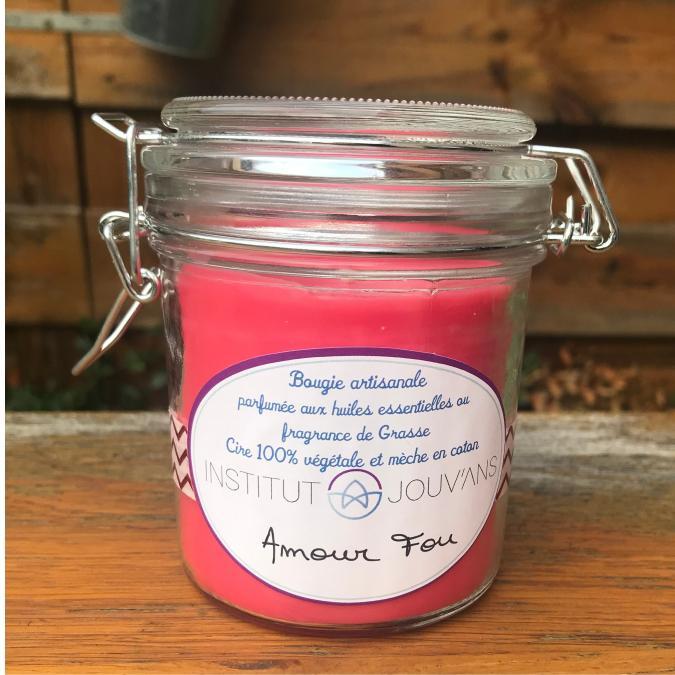 Bougies Jouvans - Amour Fou - Bougie - mélange de fruits rouges, de noix de coco et de roses fraîches, avec une pointe de vanille et de musc