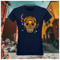Breizh Traveller - T Shirt femme col rond Breizh Skull - La Calavera Bretaña - Tshirt Femme
