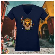 Breizh Traveller - T Shirt femme col V Breizh Skull - La Calavera Bretaña - Tshirt Femme