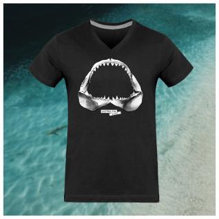 Breizh Traveller - T Shirt Homme Col V Requin / Shark - Australian Kiss - tee shirt homme
