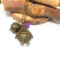 Breloques et cie - A parfumer, sautoir chouette perle violette - Sautoir
