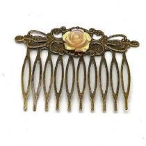 Breloques et cie - Barrette peigne fleur beige rosée - Barrette