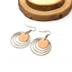 Breloques et cie - Boucles d'oreille ronds, email rose - Boucles d'oreille - Acajou
