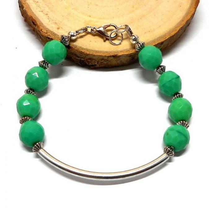 Breloques et cie - Bracelet fantaisie argenté et perles vertes - Bracelet - Or