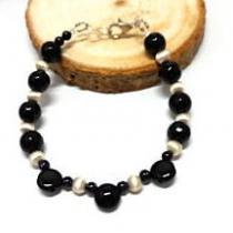 Breloques et cie - Bracelet fantaisie noir et argenté - Bracelet - perles