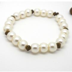 Breloques et cie - Bracelet fantaisie perles blanches et bronze - Bracelet - 4668