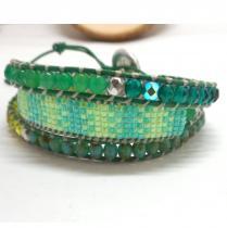 Breloques et cie - Bracelet wrap 3 tours vert - Bracelet - perles