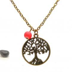 Breloques et cie - Collier fantaisie arbre de vie perle rouge - Collier - metal bronze