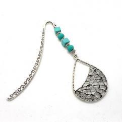 Breloques et cie - Marque page goutte perles turquoises - Marque-page