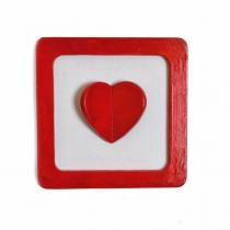 Cafouille Création - Cadre en relief rouge et blanc avec cœur en relief - Cadre -