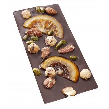 Maison Castelanne - Tablette MENDIANT Chocolat Noir Et Fruits Secs - 110 g - Chocolat